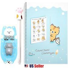 Corocoro Coronya Ruled Kitty Cat Notebook, Paw Pen, Eraser : Set of 3 (Blue)