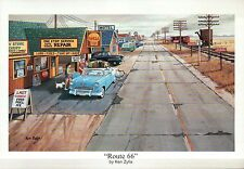 """ Route 66 "" by Ken Zylla, Shell Gas Station, Old Car -- Art Print, NOT Postcard"