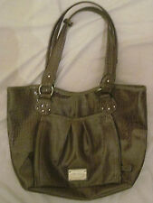LARGE NINE WEST CROCODILE PATENT LEATHER PURSE HAND SHOULDER BAG TAUPE/BROWN