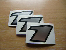 set of 3 - Black & Chrome number 1  decals / stickers IMPACT 60mm