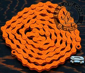 "Orange Single Speed Fixie Bicycle Chain YBN 1/2x1/8""112 Schwinn Cruiser Bike BMX"