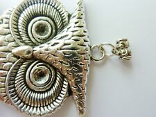 Antique Silver Swinging Owl Pendant 103mm x 43mm Includes Hanger Link Bail Bead