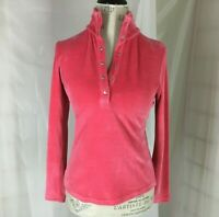 Talbots Petite Womens Pullover Pink Velour Top Mock Turtleneck