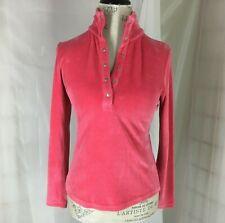 Talbots Petite Womens Pullover Pink Velour Top Mock Turtleneck