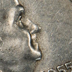 1955 50c Franklin Silver Half Dollar - Bugs Bunny Variety - SKU-H1410