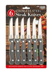 Steak Knives Set Of 6 Stainless Steel Table Knife Kitchen Cutlery Serrated Edge