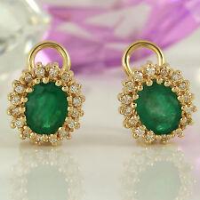 Ohrstecker Clips in 585 Gelbgold 14K 2 Smaragd Edelsteine ca 6,0 ct 32 Diamanten