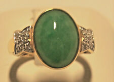 New genuine green  jade lady's ring set in 14k  with 10 pieces diamonds 0.06 cts