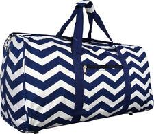 "22"" Women's Chevron Print Gym Dance Cheer Travel Carry On Duffel Bag - Navy"