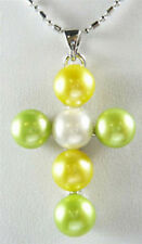 Multi-Color Green Yellow White Freshwater Pearl Xmas Cross Luck Pendant Necklace