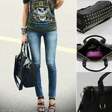 Hot Women's Leather Handbag Bottom Rivets Stud Bag Shoulder Bags Tote Purse
