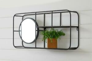 Wall Shelf with Mirror in Black Metal