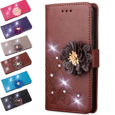 For Samsung Galaxy Phones/S9 Leather Bling Diamond Flower Flip Wallet Case Cover