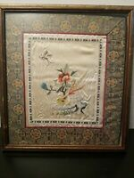 Vintage Framed Art Chinese Silk Embroidered Tapestry Flowers, Bird & Butterfly
