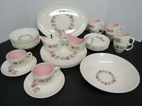32 Pieces Taylor, Smith & Taylor Ever Yours Sweet Rose Dishes Mid-Century Modern