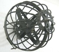 ANTIQUE OLD IRON GIMBALLED GYROSCOPIC WHALERS SHIP OIL LAMP
