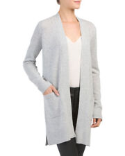 38fadf1ad847 Theory Misty Heather Gray Soft Cashmere Open Front Belt Cardigan Sz M