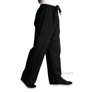 Black Cotton Kung fu Tai chi Pants Martial arts Wushu Wing Chun Trousers