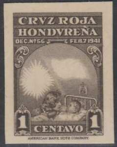 HONDURAS 1945 RED CROSS Sc RA3 IMPERF PROOF ON CARD MISSING RED/BLUE COLORS FVF