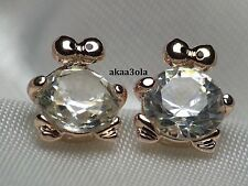 Crazy shape! Diamond Stud Earrings Frog 18k Yellow Gold