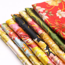 Floral Printed Silk Satin Cloth Chinese Cheongsam Evening Dress Crafts By Metre