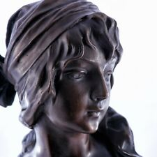 Bronze girl with scarf on a Solid Marble base. Art, Gift, Ornament.