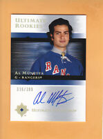 2005 06 ULTIMATE ROOKIE SP 399 AUTO # 124 AL MONTOYA NEW YORK RANGERS