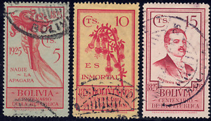 1925 Bolivia SC# 152-154 - F - Flower - 3 Different Stamps - Used