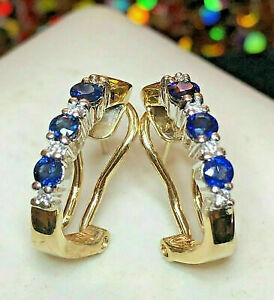 14K YELLOW GOLD OVER 1.50CT BLUE SAPPHIRE & DIAMOND EARRINGS OMEGA FRENCH BACK