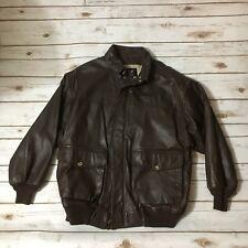 Willis & Geiger Dark Brown Bomber Jacket Mens Medium Embossed Eagle Vintage