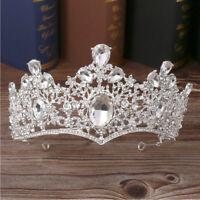Women Bridal Queen Crown Wedding Tiara Vintage Rhinestone Crystal Tiara Headband