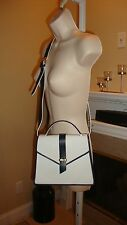 STUNNING NEW $2,750 YVES SAINT LAURENT NAVY & WHITE SHOULDER BAG
