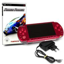 PSP 3004 Slim & Lite Konsole ROT #32A + original Ladekabel + Spiel RIDGE RACER