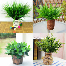 Artificial Plants Indoor Outdoor Fake Leaf Foliage Bush Home Garden Decor 67UK