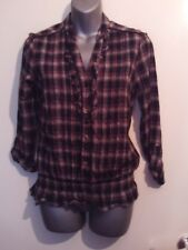 George black mix check 3/4 button up sleeve dropped hem ruffle top size 8