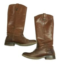 Frye Melissa Button Knee High Cognac Brown Leather Stacked Heel Riding Boots 7