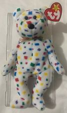 Rare Tag Errors Ty 2K Beanie Babies Bear White Confetti - Red Yellow Blue Green