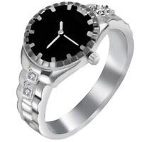 1X(europaeischen und amerikanischen kreative Uhr geformt Ring Mode Frauen Her 2A