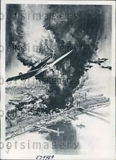 1940 Artist's Drawing WWII German Planes Bomb Portsmouth England Press Photo
