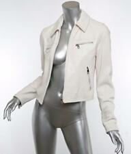 DOLCE&GABBANA Womens White-Leather BANANA LEAF Moto-Motorcycle Jacket 6-42 NWT