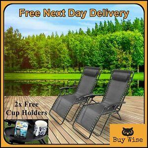 2x Deluxe Zero Gravity Chair Reclining Sun Lounger Adjustable Bed Outdoor Garden