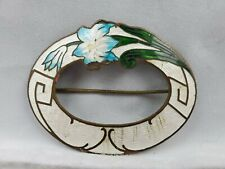 "on Copper Pin Brooch 2.75"" Long Large Antique Victorian Guilloche Enamel Flower"