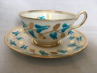 New Chelsea Staffs Made in England Cup and Saucer Blue Gold
