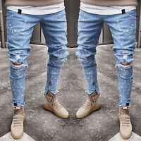 Men Skinny Jeans Trousers Biker Destroyed Frayed Slim Casual Denim Ripped Pants