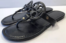 Tory Burch Miller Black Tumbled Leather Sandals Size 6 1/2 6.5 M