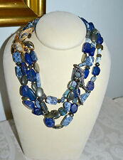 NEW $995 ALEXIS BITTAR Phoenix Rich Blue Sodalite Torsade Multi Strand Necklace