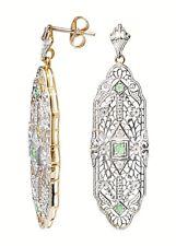 Exklusive Ohrringe im Stile des Art Deco Sterlingsilber vergoldet  Diamanten Sma