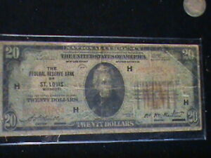 1929 $20 St. Louis Missouri Fed Reserve Bank Note Brown National Currency