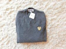 New $390 Play Comme Des Garcons Sweater S Grey 05301 V neck