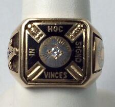 Vintage Mason Men's Ring Diamond Enamel 14K Size 8.5 Heavy (J522)